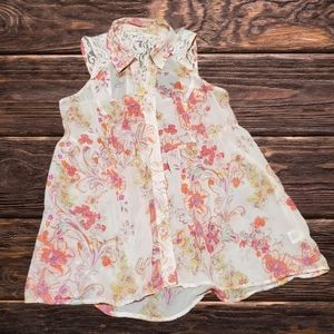 Candies sheer lace floral sleeveless top size M